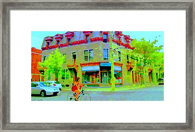 Pointe St Charles Bike Ride Rue Charlevoix Past Friperie Point Couture Street Scene  Carole Spandau Framed Print by Carole Spandau