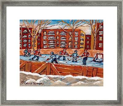 Pointe St. Charles Hockey Rink Southwest Montreal Winter City Scenes Paintings Framed Print by Carole Spandau