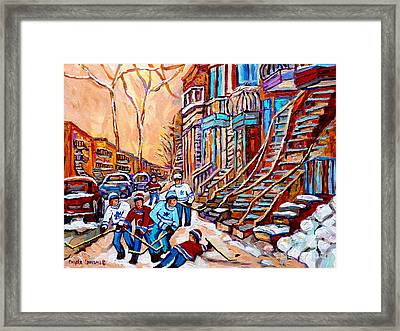 Pointe St.charles Hockey Game Near Winding Staircases Montreal Winter City Scenes Framed Print by Carole Spandau