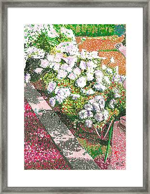 Pointelism Flowers And The Garden Path Framed Print