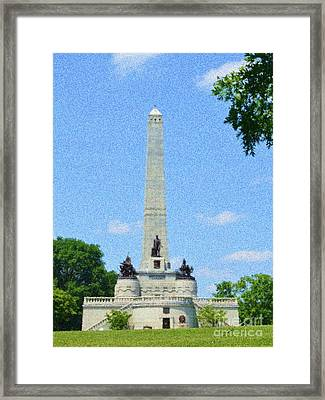 Framed Print featuring the digital art Pointelisticlincoln's Tomb  by Luther Fine Art