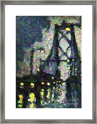 Pointilist Version Of Macdonald Bridge On A Rainy Night Framed Print by John Malone