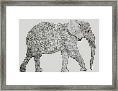 Pointillism Elephant Framed Print by Terence Leano