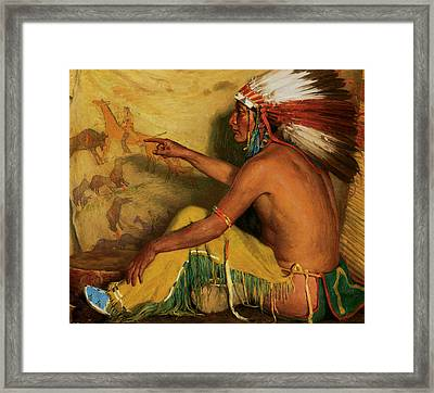 Pointing With Pride To His Record Framed Print by Joesph Henry Sharp