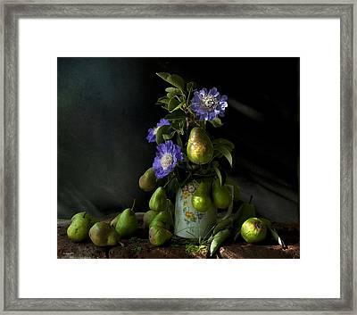 Poires Et Fleurs Framed Print