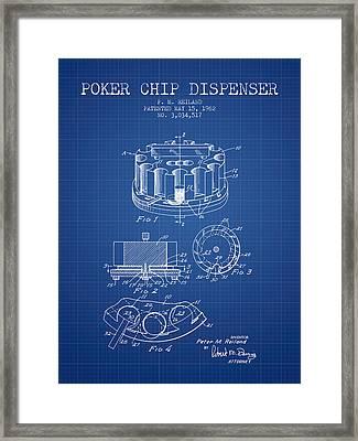 Poker Chip Dispenser Patent From 1962 - Blueprint Framed Print