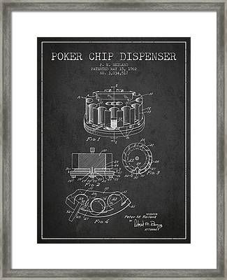 Poker Chip Dispenser Patent From 1962 - Charcoal Framed Print by Aged Pixel