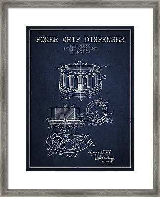 Poker Chip Dispenser Patent From 1962 - Navy Blue Framed Print by Aged Pixel