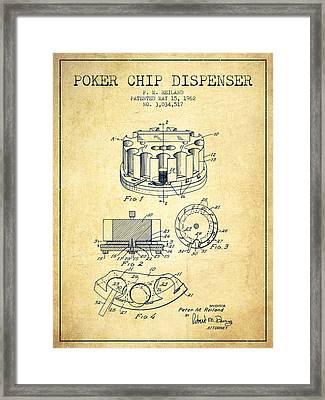 Poker Chip Dispenser Patent From 1962 - Vintage Framed Print