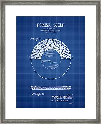 Poker Chip Patent From 1944 - Blueprint Framed Print by Aged Pixel