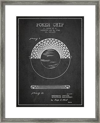 Poker Chip Patent From 1944 - Charcoal Framed Print by Aged Pixel