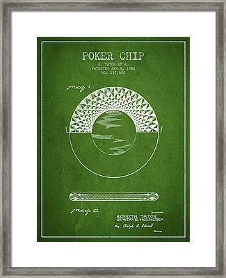 Poker Chip Patent From 1944 - Green Framed Print by Aged Pixel