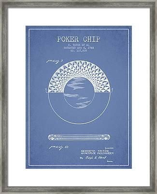 Poker Chip Patent From 1944 - Light Blue Framed Print by Aged Pixel