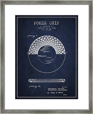 Poker Chip Patent From 1944 - Navy Blue Framed Print by Aged Pixel