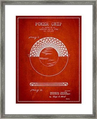 Poker Chip Patent From 1944 - Red Framed Print by Aged Pixel