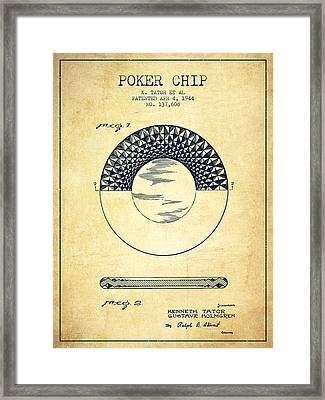 Poker Chip Patent From 1944 - Vintage Framed Print by Aged Pixel