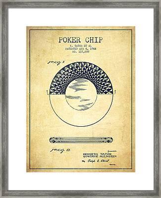 Poker Chip Patent From 1944 - Vintage Framed Print