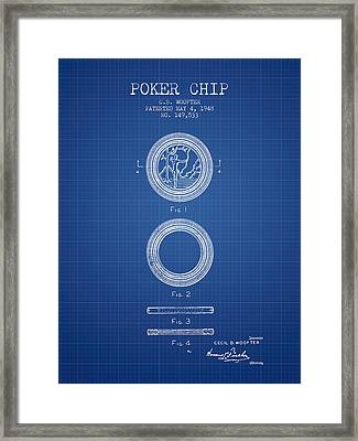 Poker Chip Patent From 1948 - Blueprint Framed Print by Aged Pixel
