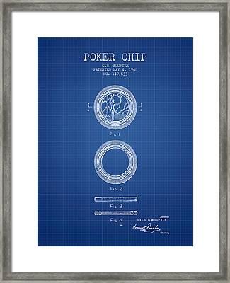 Poker Chip Patent From 1948 - Blueprint Framed Print