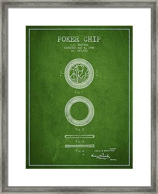 Poker Chip Patent From 1948 - Green Framed Print by Aged Pixel