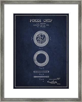 Poker Chip Patent From 1948 - Navy Blue Framed Print by Aged Pixel
