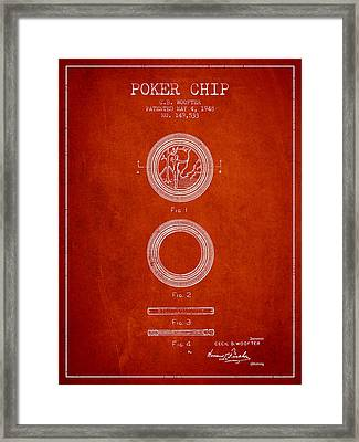 Poker Chip Patent From 1948 - Red Framed Print by Aged Pixel