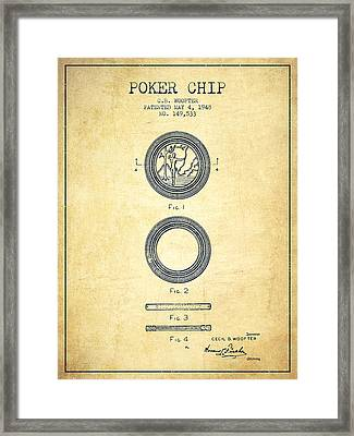 Poker Chip Patent From 1948 - Vintage Framed Print by Aged Pixel