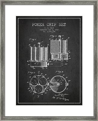 Poker Chip Set Patent From 1928 - Charcoal Framed Print by Aged Pixel