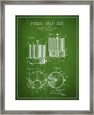 Poker Chip Set Patent From 1928 - Green Framed Print by Aged Pixel