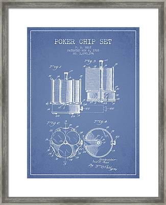 Poker Chip Set Patent From 1928 - Light Blue Framed Print by Aged Pixel