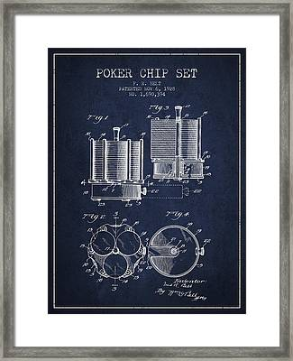 Poker Chip Set Patent From 1928 - Navy Blue Framed Print by Aged Pixel