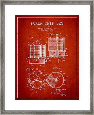 Poker Chip Set Patent From 1928 - Red Framed Print by Aged Pixel