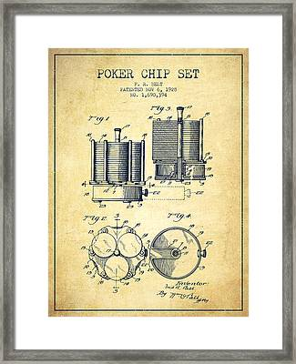 Poker Chip Set Patent From 1928 - Vintage Framed Print by Aged Pixel