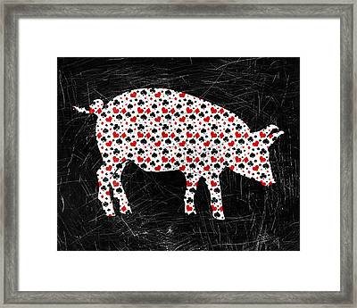 Poker Pig Framed Print by Flo Karp