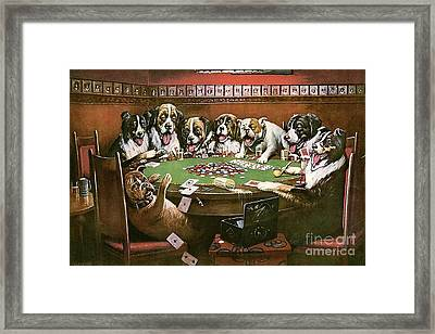 Poker Sympathy Framed Print by Cassius Marcellus Coolidge