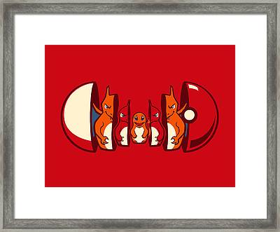 Poketryoshka - Fire Type Framed Print