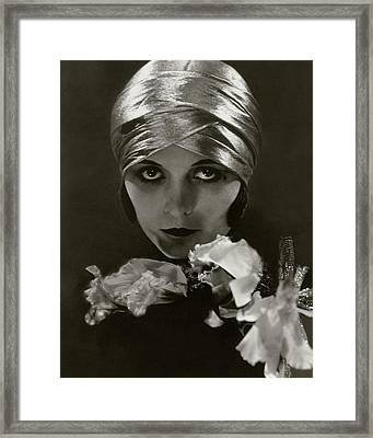 Pola Negri Wearing A Head Wrap Framed Print