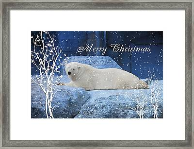 Polar Bear Christmas Greeting Framed Print