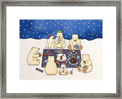 Polar Bear Picnic Framed Print by Cathy Baxter