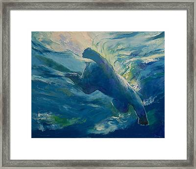 Polar Bear Swim Framed Print by Michael Creese