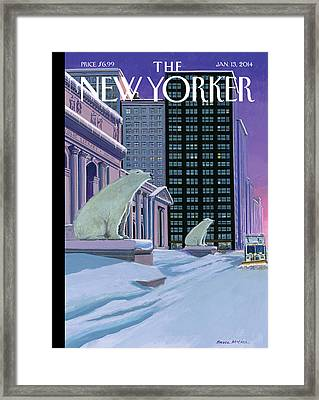Polar Bears Sit Outside The New York Public Framed Print by Bruce McCall