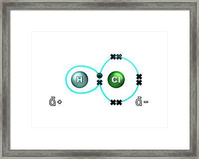 Polar Bond In Hydrogen Chloride Molecule Framed Print by Animate4.com/science Photo Libary
