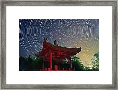 Polar Star Trails Over Pagoda Framed Print