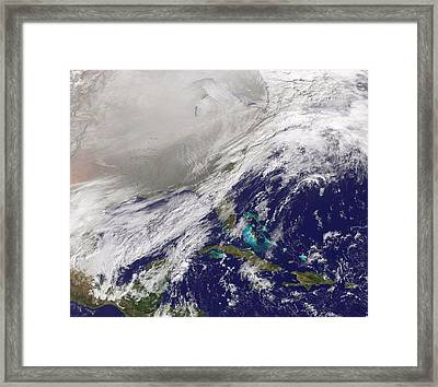 Polar Vortex Over Usa Framed Print by Nasa