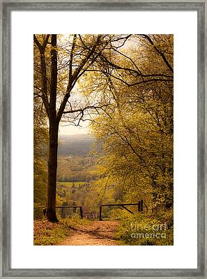pole fence at top of picturesque view of Steep from Ashford Hang Framed Print