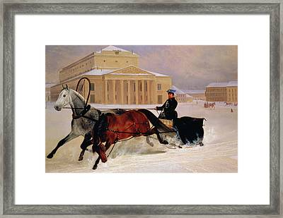 Pole Pair With A Trace Horse At The Bolshoi Theatre In Moscow Framed Print by Nikolai Egorevich Sverchkov