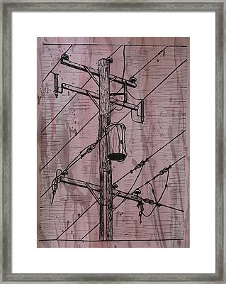 Pole With Transformer Framed Print
