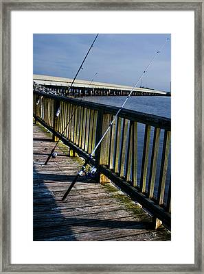 Poles On The Pier Framed Print by Mechala  Matthews