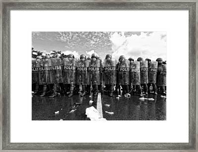 Police Barricades Framed Print