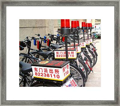 Police Bicycles Framed Print by Ethna Gillespie